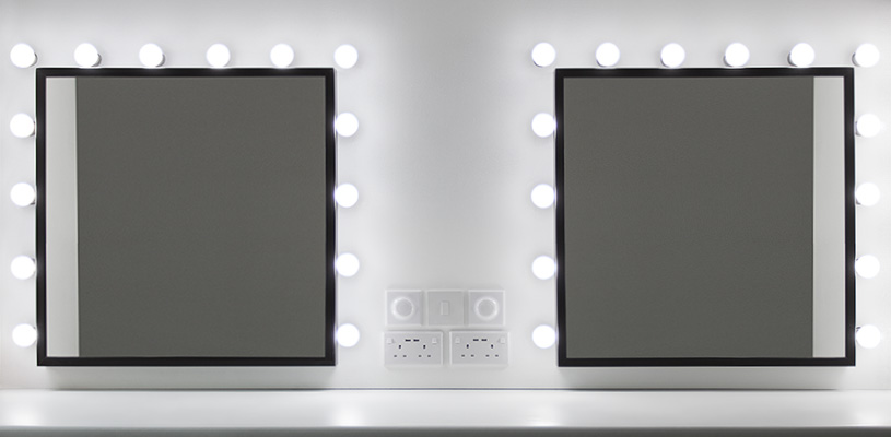 Double vanity mirror installation in our spacious make-up room