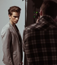 Strobe London photographing model Vincent Sanders with hair styling and make-up by Rosie Finnigan @ Salon X