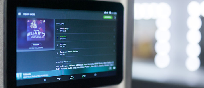 Sound system and Spotify tablet