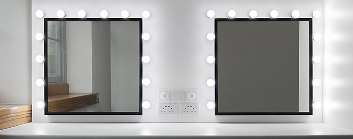 Vanity mirror installation in the make-up room at Studio Hire Plymouth